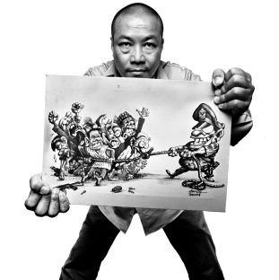 Harn Lay, burmese cartoonist